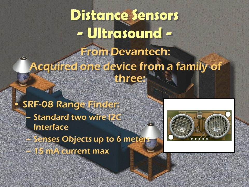 Distance Sensors - Ultrasound - From Devantech: Acquired one device from a family of three: From Devantech: Acquired one device from a family of three: SRF-08 Range Finder: –Standard two wire I2C Interface –Senses Objects up to 6 meters –15 mA current max SRF-08 Range Finder: –Standard two wire I2C Interface –Senses Objects up to 6 meters –15 mA current max