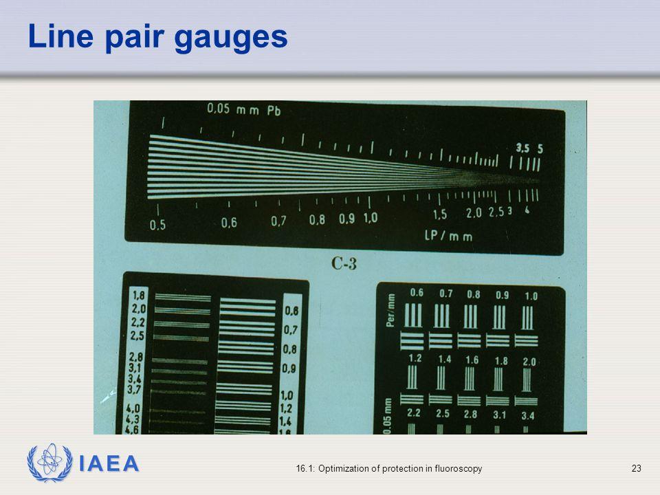 IAEA 16.1: Optimization of protection in fluoroscopy23 Line pair gauges