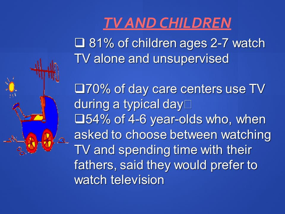 TV AND CHILDREN 81% of children ages 2-7 watch TV alone and unsupervised 81% of children ages 2-7 watch TV alone and unsupervised 70% of day care centers use TV during a typical day 70% of day care centers use TV during a typical day 54% of 4-6 year-olds who, when asked to choose between watching TV and spending time with their fathers, said they would prefer to watch television 54% of 4-6 year-olds who, when asked to choose between watching TV and spending time with their fathers, said they would prefer to watch television