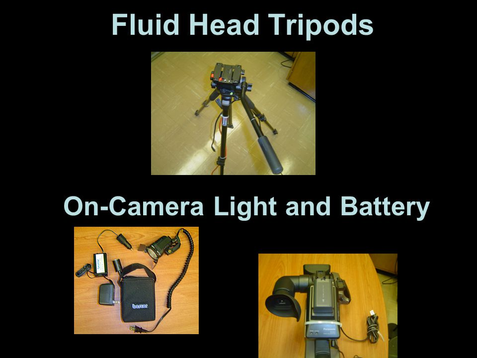 On-Camera Light and Battery Fluid Head Tripods