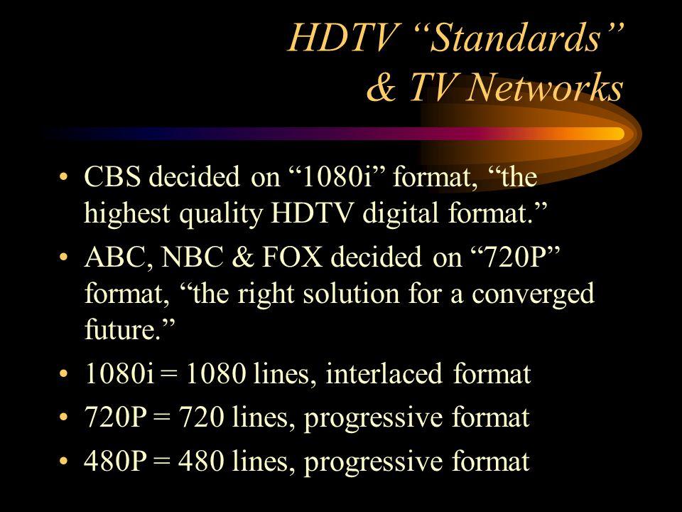 HDTV Standards & TV Networks CBS decided on 1080i format, the highest quality HDTV digital format.