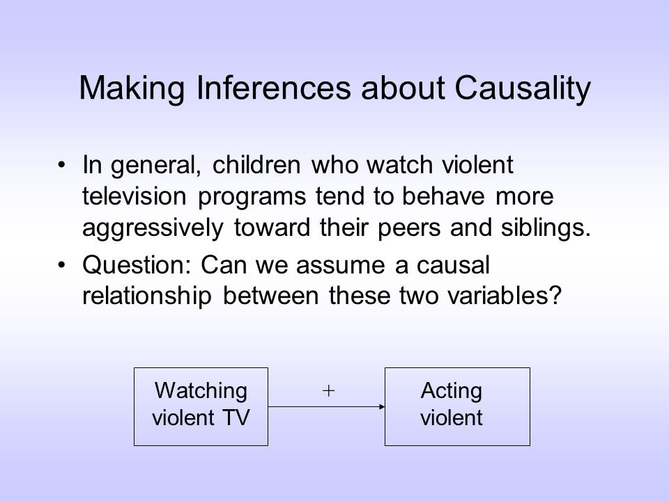 Random Assignment Previously, we had discussed the possibility that the violence of the family context is a third variable that might be causing both violent TV viewing and aggressive behavior.