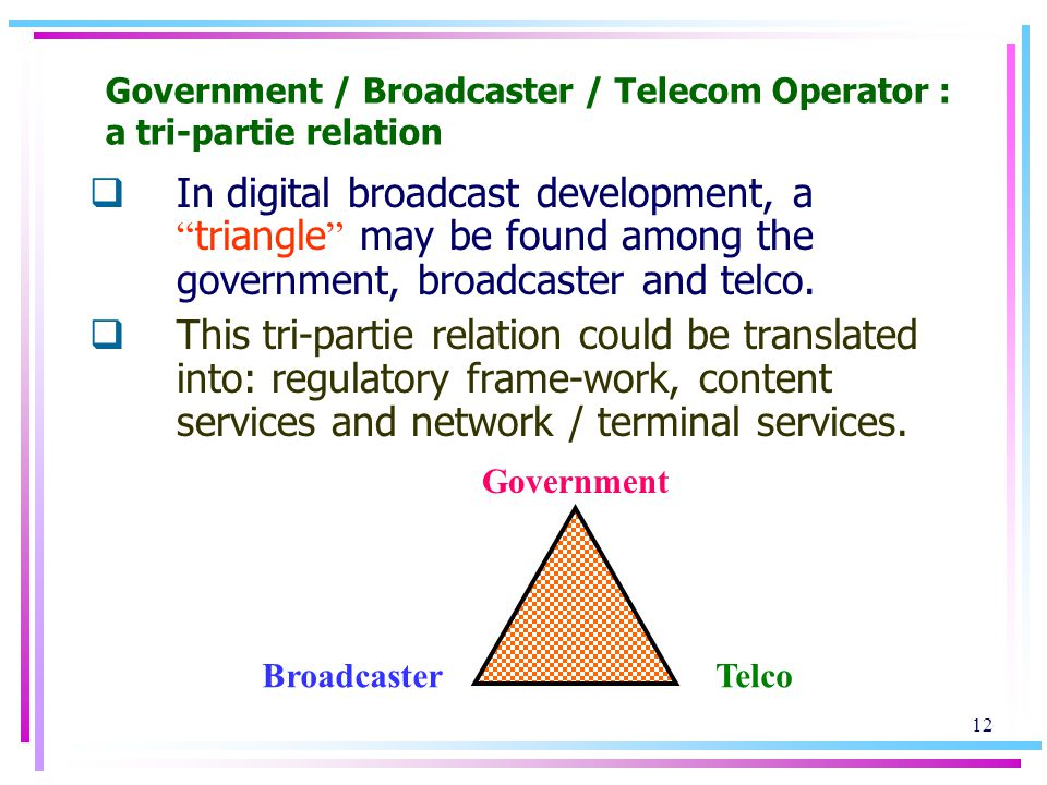 12 Government / Broadcaster / Telecom Operator : a tri-partie relation In digital broadcast development, a triangle may be found among the government, broadcaster and telco.