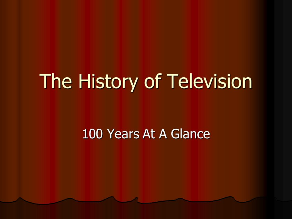 The History of Television 100 Years At A Glance