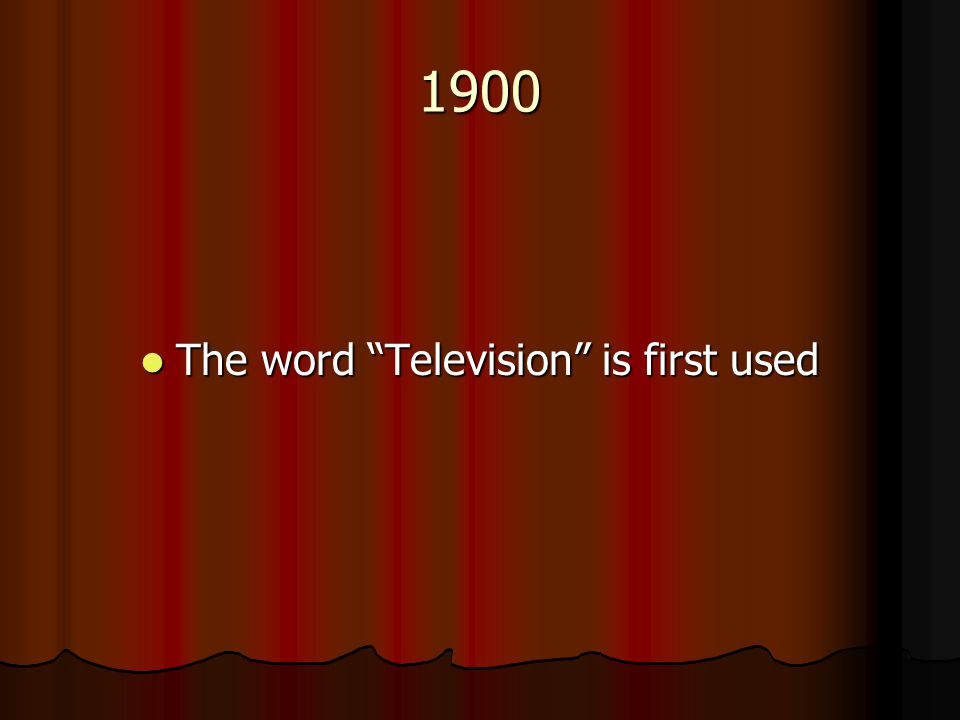 1900 The word Television is first used The word Television is first used