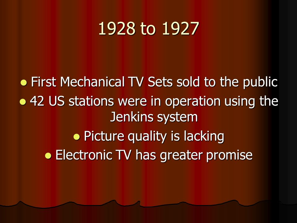1928 to 1935 Early experiments were performed using a system called Early experiments were performed using a system called All-Electronic Cathode Ray Television (basic system in place today)
