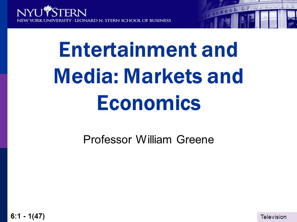 Television 6:1 - 42(47) Distinctive Features Shape the Market Time value of content – Perishability Derived demand for social capital Live production resists technological change in delivery.