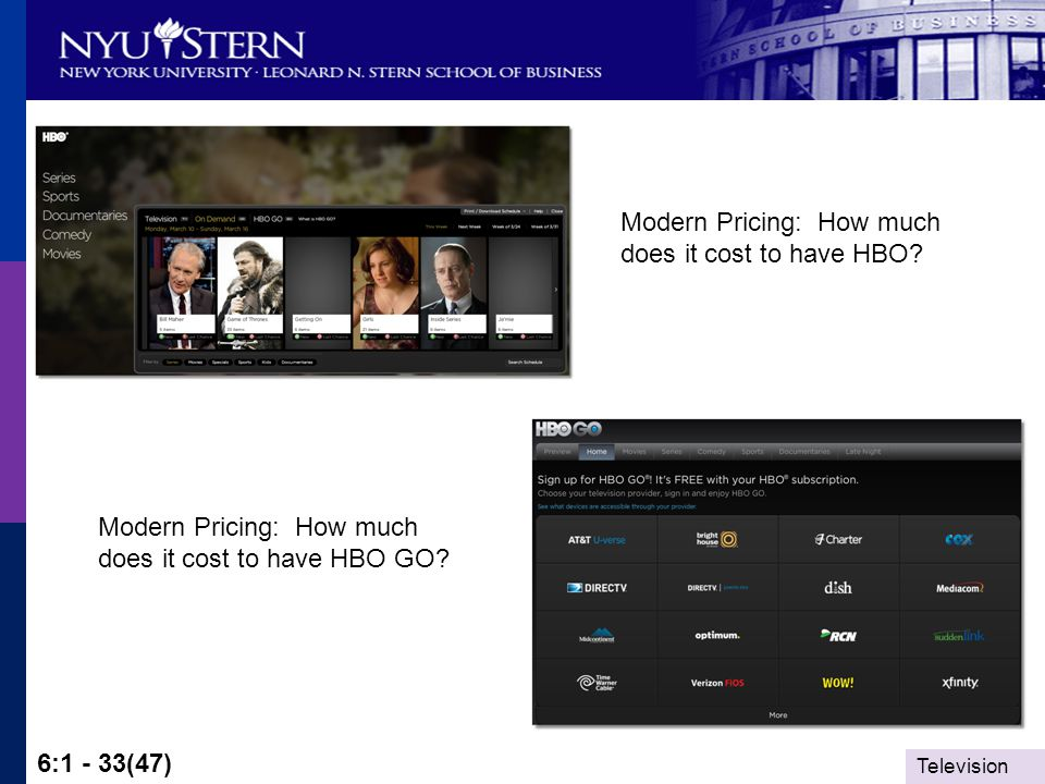 Television 6:1 - 33(47) Modern Pricing: How much does it cost to have HBO.