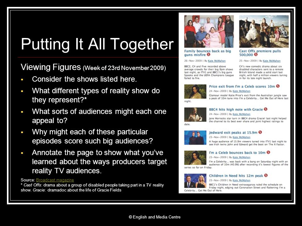 Putting It All Together Viewing Figures (Week of 23rd November 2009) Consider the shows listed here. What different types of reality show do they repr