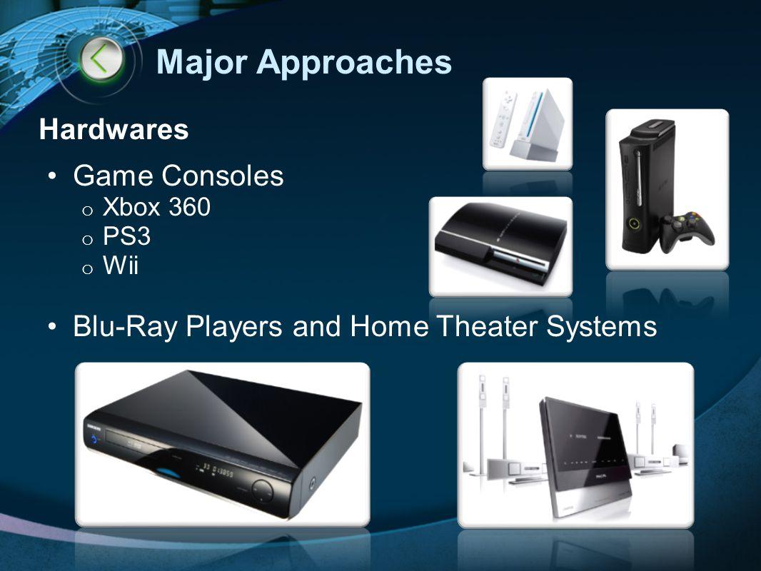 Major Approaches Hardwares Web-Enabled TV Dedicated boxes o LogitechRevue (Google TV) o Roku o Boxee o Apple TV Others o Wireless Display Technology (Intel) o HDMI Cord (e.g.