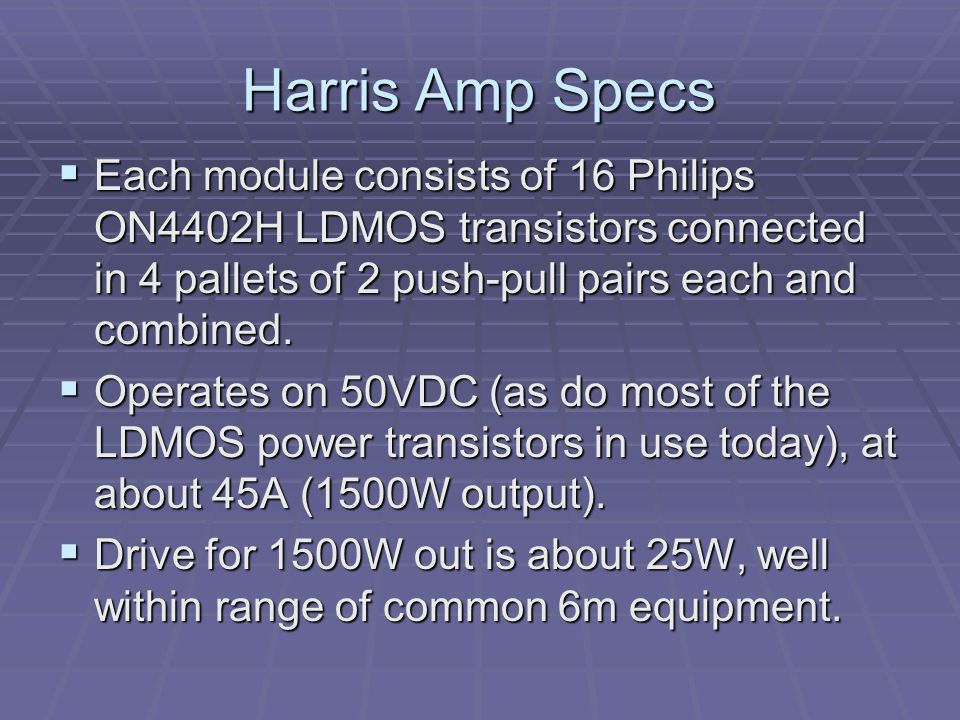 Power Supply See the image on the next page.The amplifier requires 50VDC at nearly 50A.
