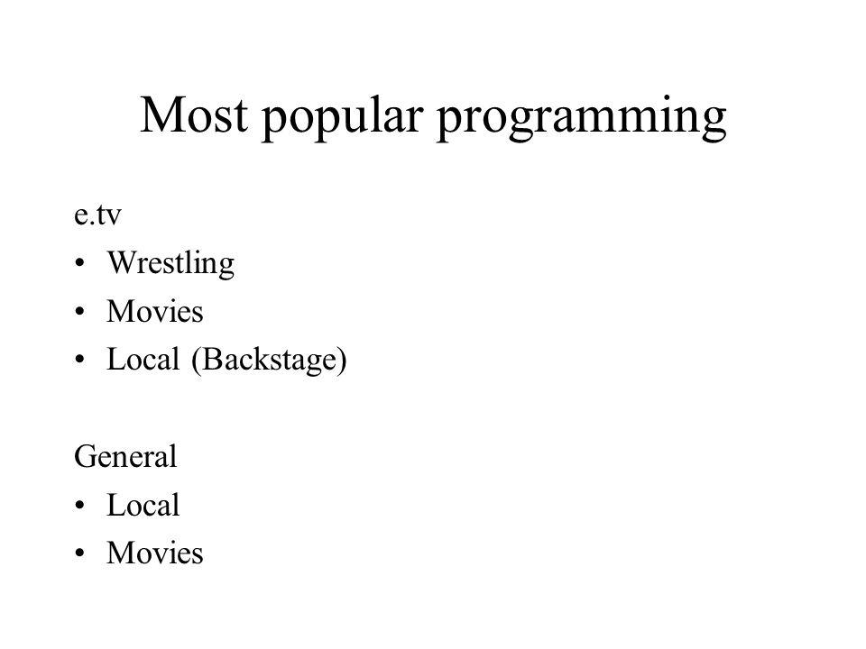 Most popular programming e.tv Wrestling Movies Local (Backstage) General Local Movies