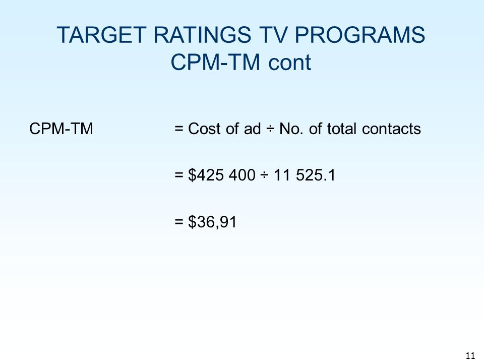 11 ÷ CPM-TM= Cost of ad ÷ No.