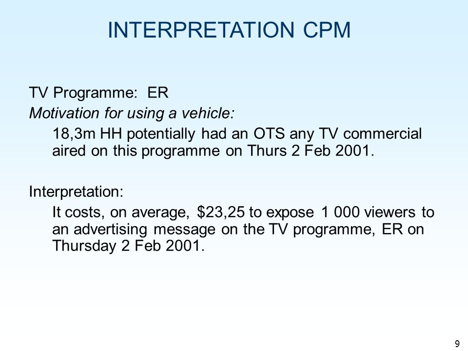 9 INTERPRETATION CPM TV Programme: ER Motivation for using a vehicle: 18,3m HH potentially had an OTS any TV commercial aired on this programme on Thurs 2 Feb 2001.