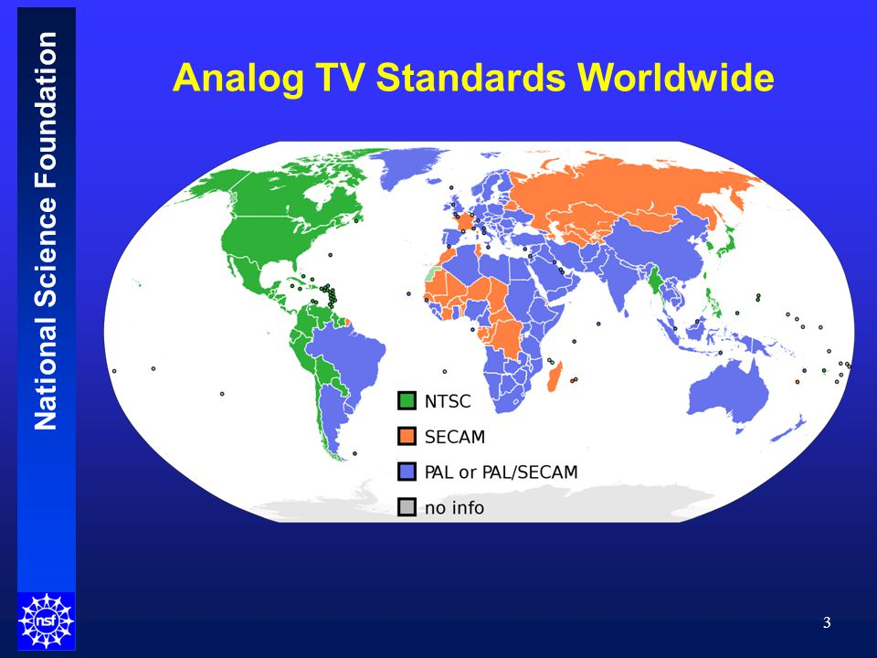 National Science Foundation Analog TV Standards Worldwide 3