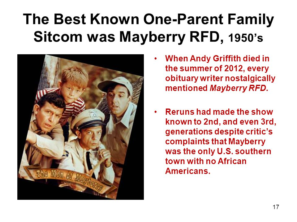 The Best Known One-Parent Family Sitcom was Mayberry RFD, 1950s When Andy Griffith died in the summer of 2012, every obituary writer nostalgically mentioned Mayberry RFD.