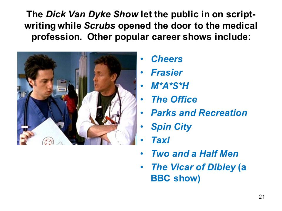 The Dick Van Dyke Show let the public in on script- writing while Scrubs opened the door to the medical profession.
