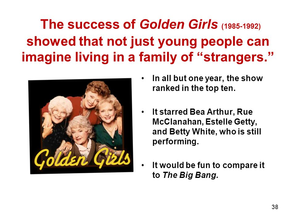 The success of Golden Girls (1985-1992) showed that not just young people can imagine living in a family of strangers.