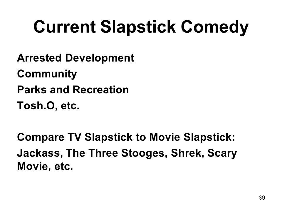 Current Slapstick Comedy Arrested Development Community Parks and Recreation Tosh.O, etc.