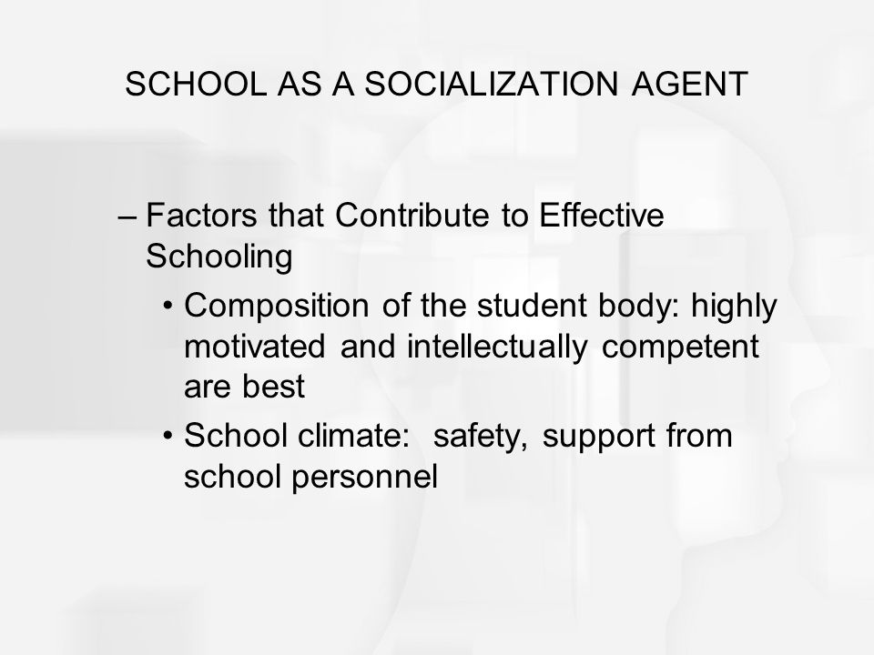 SCHOOL AS A SOCIALIZATION AGENT –Factors that Contribute to Effective Schooling Composition of the student body: highly motivated and intellectually c