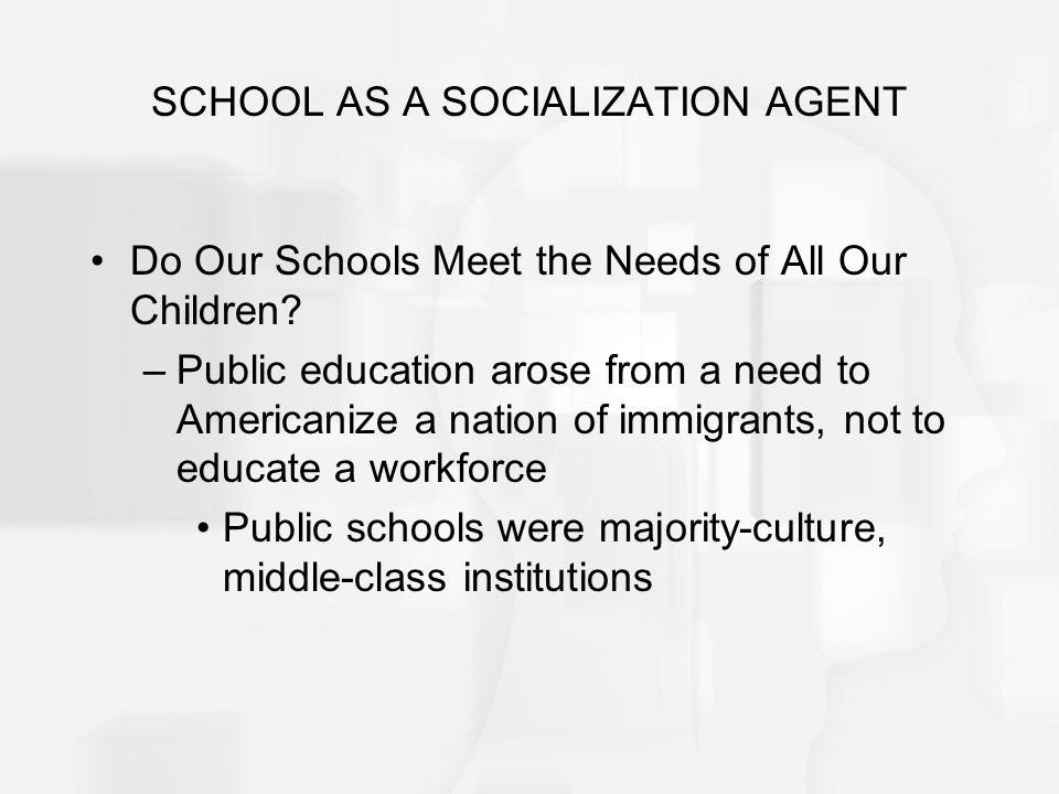 SCHOOL AS A SOCIALIZATION AGENT Do Our Schools Meet the Needs of All Our Children? –Public education arose from a need to Americanize a nation of immi