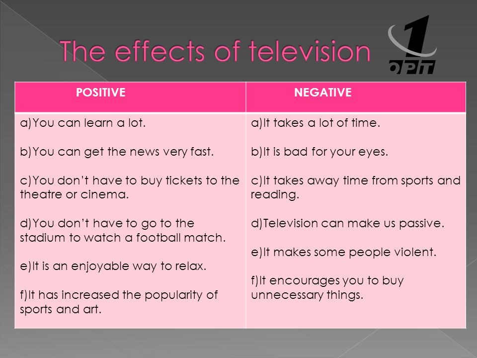 THE EFFECTS OF TV Negative effects of TV My favourite TV programme What can we do about dangers of TV Your TV habits Positive effects of TV Types of TV programmes