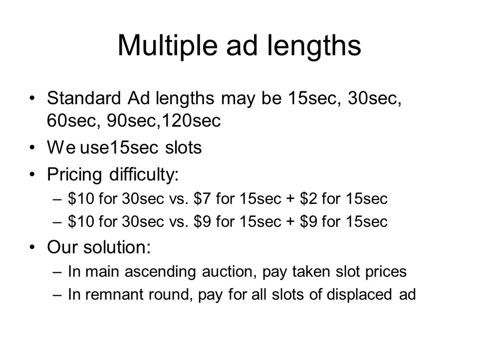 Multiple ad lengths Standard Ad lengths may be 15sec, 30sec, 60sec, 90sec,120sec We use15sec slots Pricing difficulty: –$10 for 30sec vs.