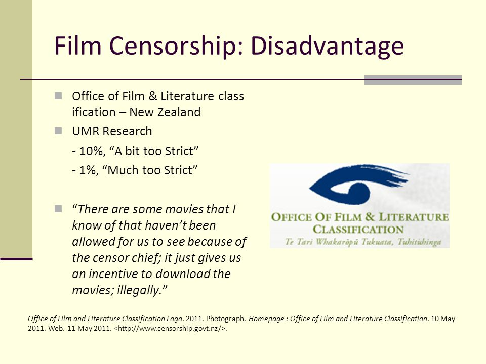 Film Censorship: Disadvantage Office of Film & Literature class ification – New Zealand UMR Research - 10%, A bit too Strict - 1%, Much too Strict The