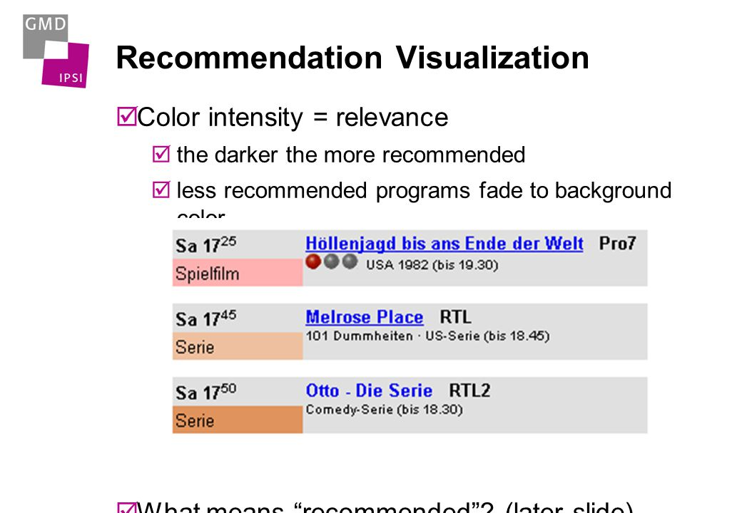 Genre Visualization Table cells color-coded List items have colored field Hue = Genre e.g.