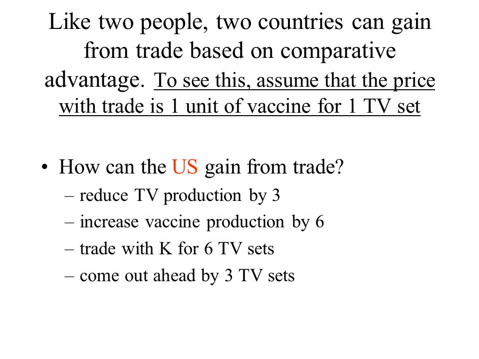 Like two people, two countries can gain from trade based on comparative advantage.