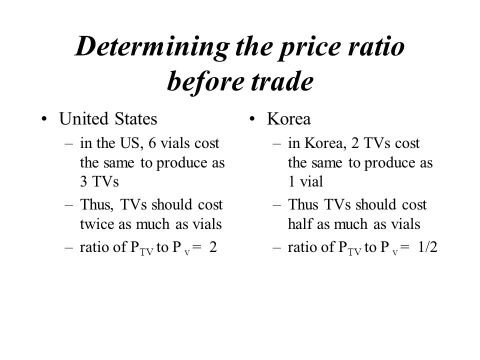 Determining the price ratio before trade United States –in the US, 6 vials cost the same to produce as 3 TVs –Thus, TVs should cost twice as much as vials –ratio of P TV to P v = 2 Korea –in Korea, 2 TVs cost the same to produce as 1 vial –Thus TVs should cost half as much as vials –ratio of P TV to P v = 1/2
