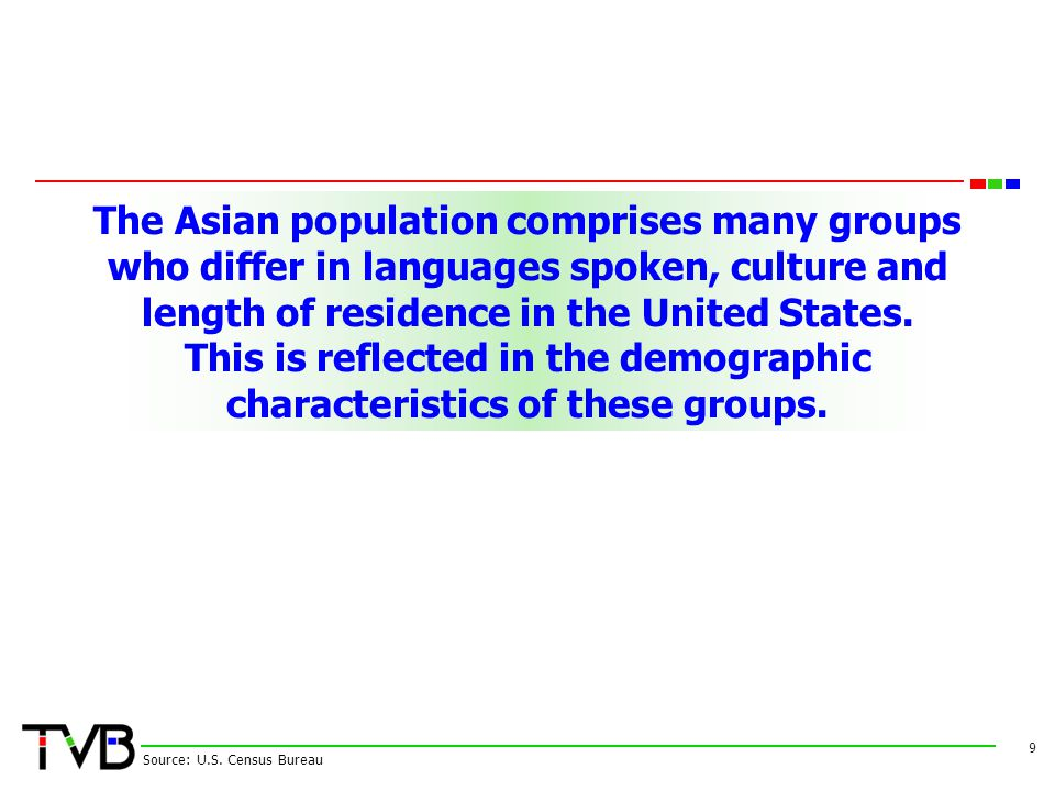 The Asian population comprises many groups who differ in languages spoken, culture and length of residence in the United States. This is reflected in