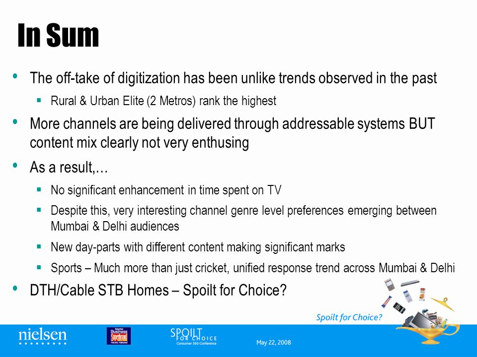 In Sum The off-take of digitization has been unlike trends observed in the past Rural & Urban Elite (2 Metros) rank the highest More channels are bein
