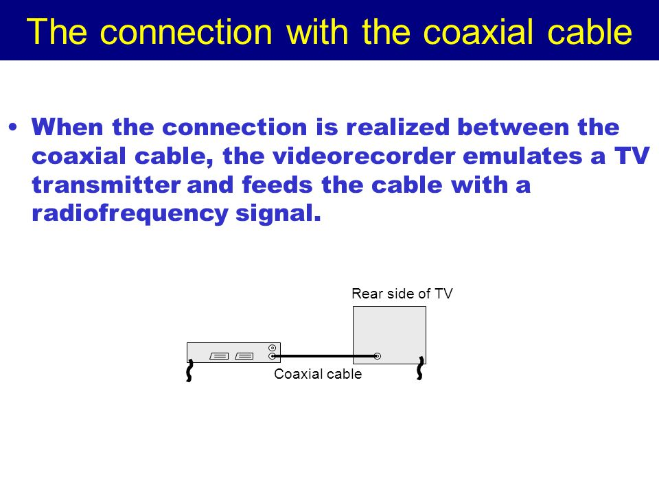 The connection with the coaxial cable When the connection is realized between the coaxial cable, the videorecorder emulates a TV transmitter and feeds the cable with a radiofrequency signal.