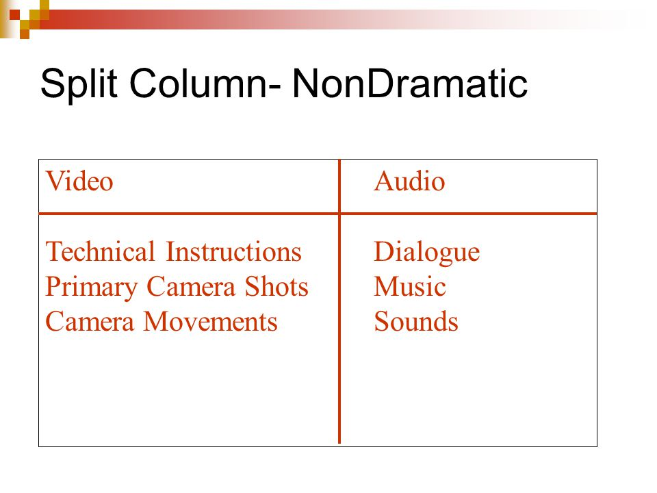Split Column- NonDramatic VideoAudio Technical InstructionsDialogue Primary Camera ShotsMusic Camera MovementsSounds