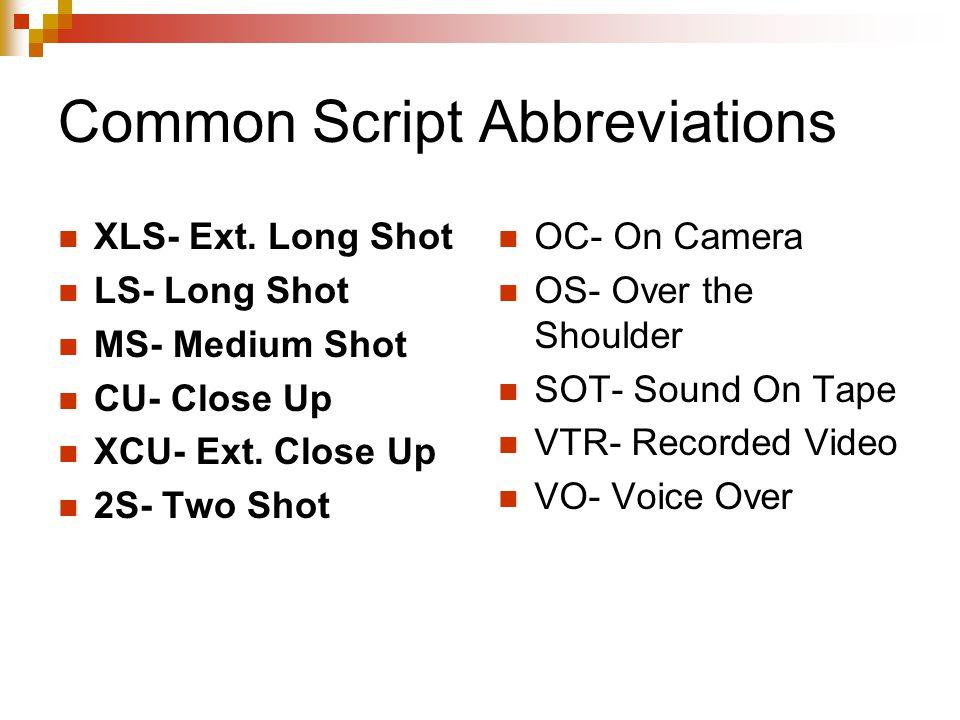 Common Script Abbreviations XLS- Ext.