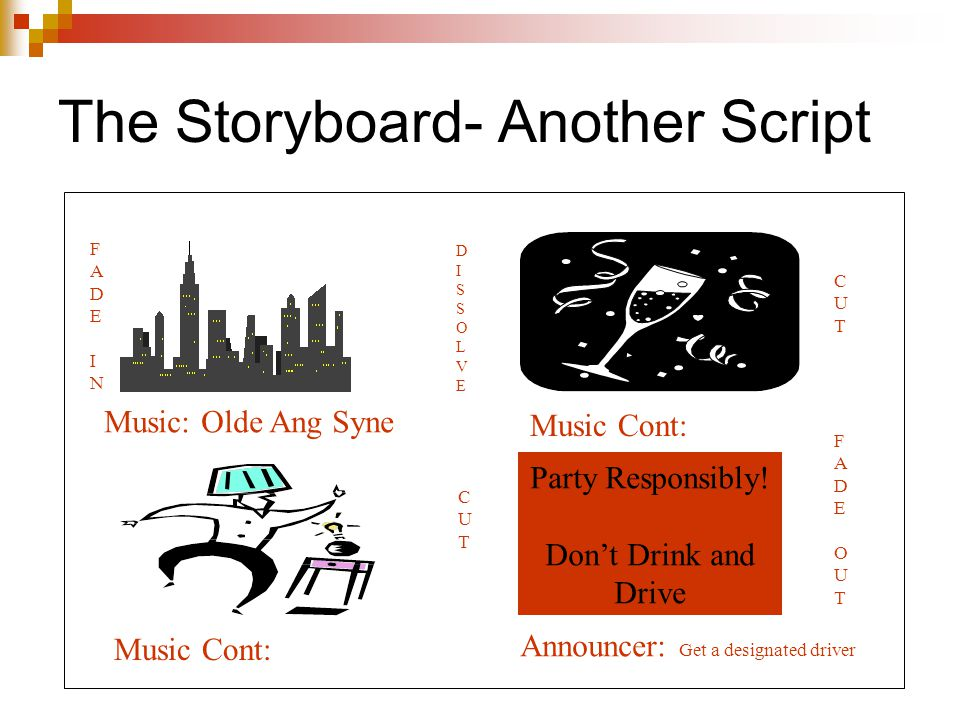 The Storyboard- Another Script Music: Olde Ang Syne Music Cont: Party Responsibly.