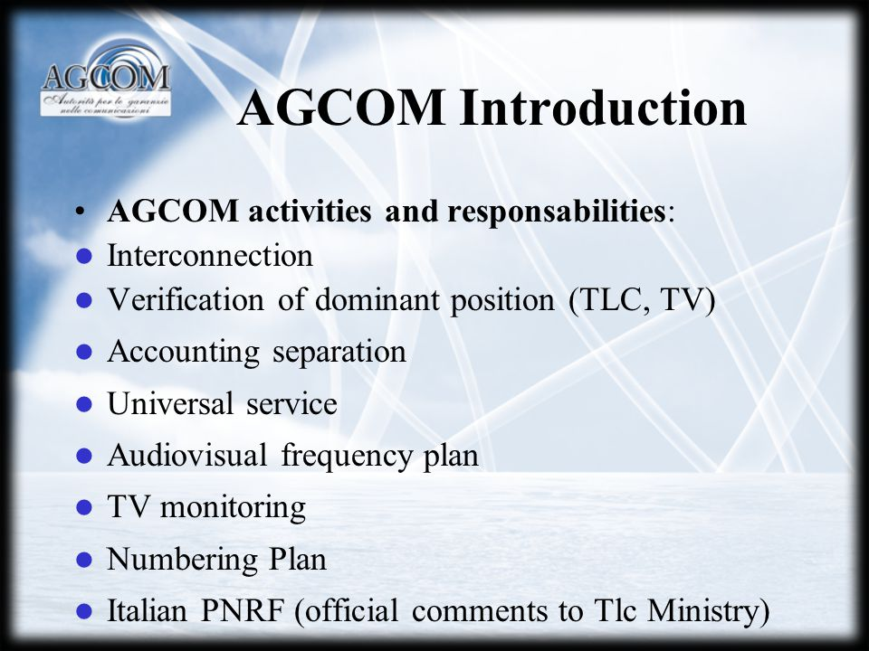 DTT Technical Aspects ANALOGUE TV PLAN REQUIREMENTS: Quality objective: 4 on the ITU-R scale One third of capacity to be reserved to local programming Utilize European channelization in VHF band Territorial coverage objective: 80% of the Italian territory (with inclusion of all Italian capoluoghi di provincia) Power > 200 W Transmission infrastructure positioned on the same position (site) Total number od transmission sites: 480