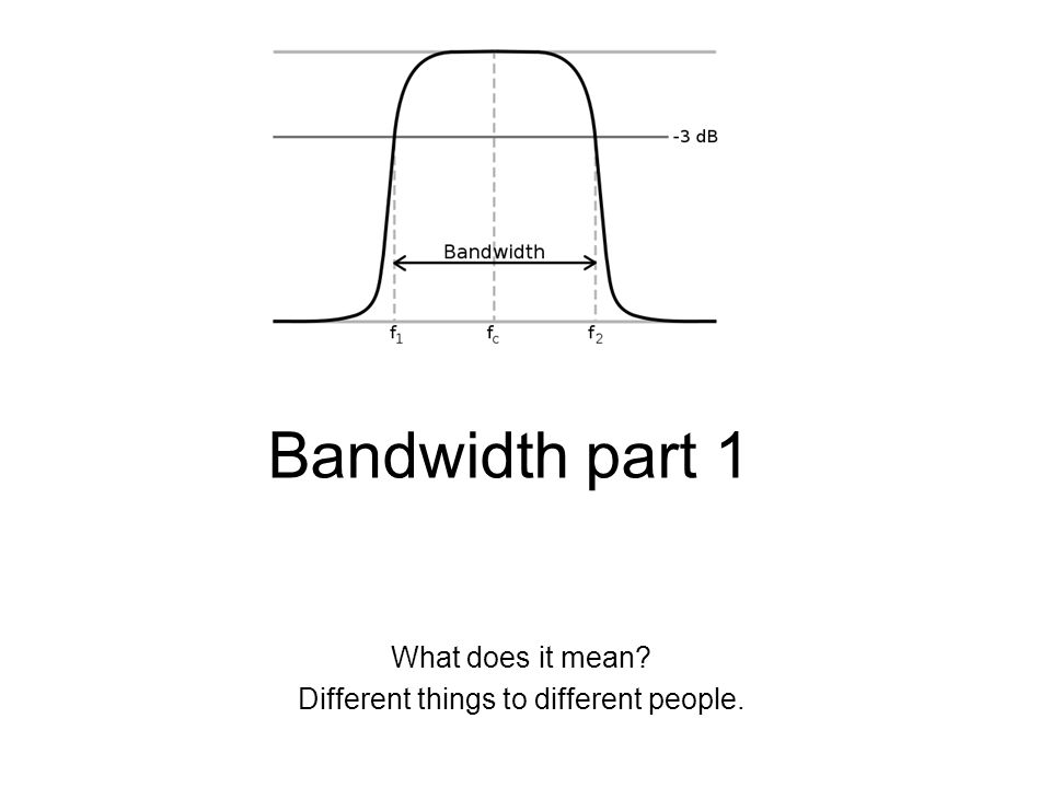 Bandwidth part 1 What does it mean Different things to different people.