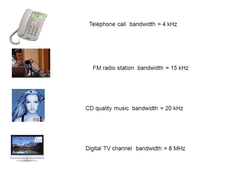 Telephone call bandwidth = 4 kHz CD quality music bandwidth = 20 kHz Digital TV channel bandwidth = 8 MHz FM radio station bandwidth = 15 kHz