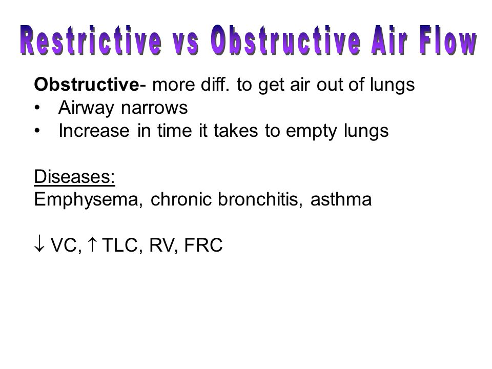 Obstructive- more diff. to get air out of lungs Airway narrows Increase in time it takes to empty lungs Diseases: Emphysema, chronic bronchitis, asthm