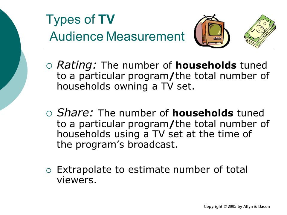 Copyright © 2005 by Allyn & Bacon Types of TV Audience Measurement Rating: The number of households tuned to a particular program/the total number of households owning a TV set.