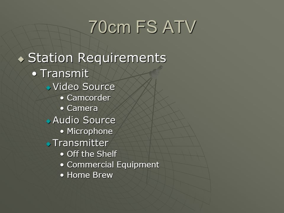 70cm FS ATV Station Requirements Station Requirements TransmitTransmit Video Source Video Source CamcorderCamcorder CameraCamera Audio Source Audio Source MicrophoneMicrophone Transmitter Transmitter Off the ShelfOff the Shelf Commercial EquipmentCommercial Equipment Home BrewHome Brew
