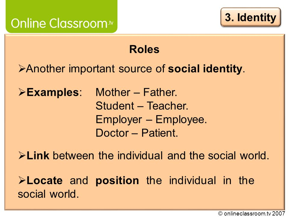 © onlineclassroom.tv 2007 Link between the individual and the social world.