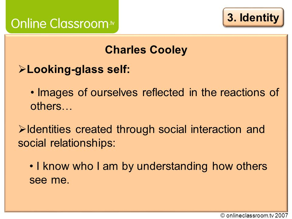 © onlineclassroom.tv 2007 Erving Goffman Focus on how identities are: Presented and managed in everyday life.