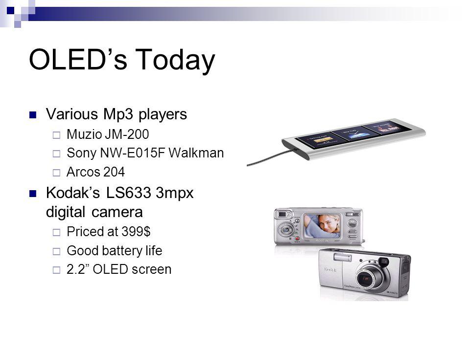 OLEDs Today Various Mp3 players Muzio JM-200 Sony NW-E015F Walkman Arcos 204 Kodaks LS633 3mpx digital camera Priced at 399$ Good battery life 2.2 OLED screen