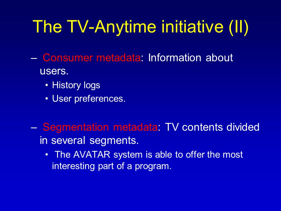 A TV Ontology (I) The ontologies allow to share and reuse knowledge efficiently.