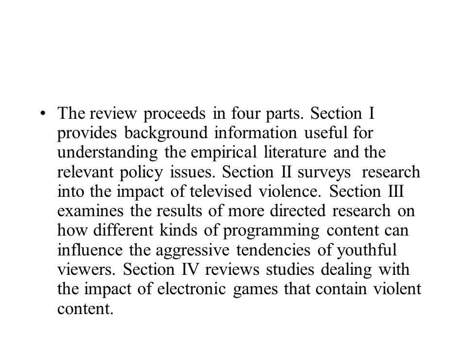 The review proceeds in four parts. Section I provides background information useful for understanding the empirical literature and the relevant policy