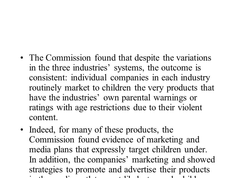 The Commission found that despite the variations in the three industries systems, the outcome is consistent: individual companies in each industry rou