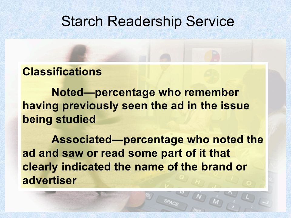 17 Starch Readership Service Classifications Notedpercentage who remember having previously seen the ad in the issue being studied Associatedpercentag